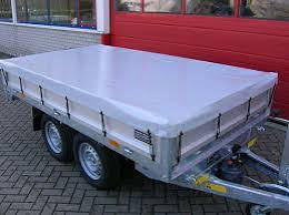 Vlakzeil grijs  plateauaanhangwagen