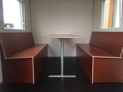Bruine betonplex tafel en banken, 180cm